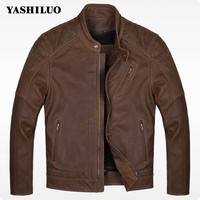 Winter High Quality Fashion Male Coat Cow Genuine Leather Slim Fit Short Jacket Stand Collar Casaca
