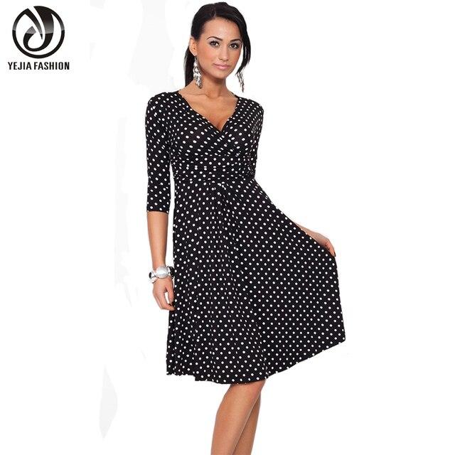 YEJIA FASHION Plus Size Women Clothing Summer Autumn Polka Dot Office Work OL Dresses Vintage Tunic Stretchy Maternity Dress