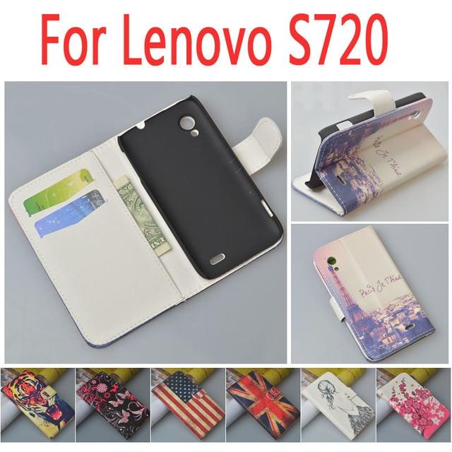 Leather case for Lenovo S720 S 720 font b phone b font flip cover case housing