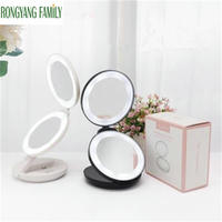 10X Magnification LED Lights Decoration Mirror Foldable Women Facial Makeup Mirror Folded Portable Cosmetic Beauty Pocket Mirror