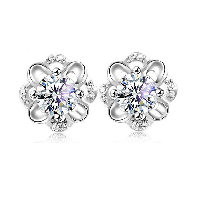 Jemmin luxury Genuine 925 Sterling Silver Woman Earrings Fashion Flower Design With AAA Grade Cubic Zircon Crystal Jewelry Gift