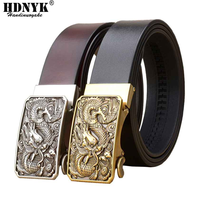 Famous Brand China Dragon Buckle   Belt   Men Cowskin Genuine Luxury Leather Men's   Belts   for Men,Strap Male Metal Automatic Buckle