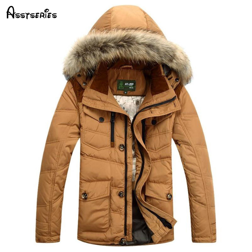 AFS JEEP Mens Down Jacket Winter Coat Man solid Fit Down Coat with fur hood Men Winter Parkas Size M-3XL 3 colors 196z