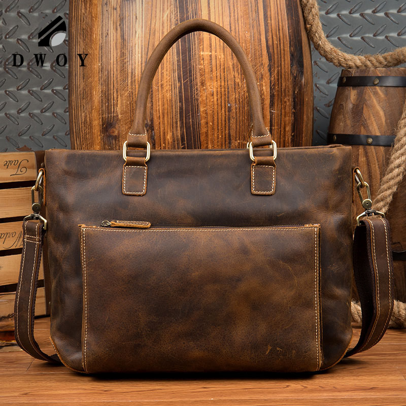 Vintage Crazy Horse Genuine Leather Men Handbags Brand Fashion Men's Business Briefcase Bag Big Capacity Men Laptop Bag