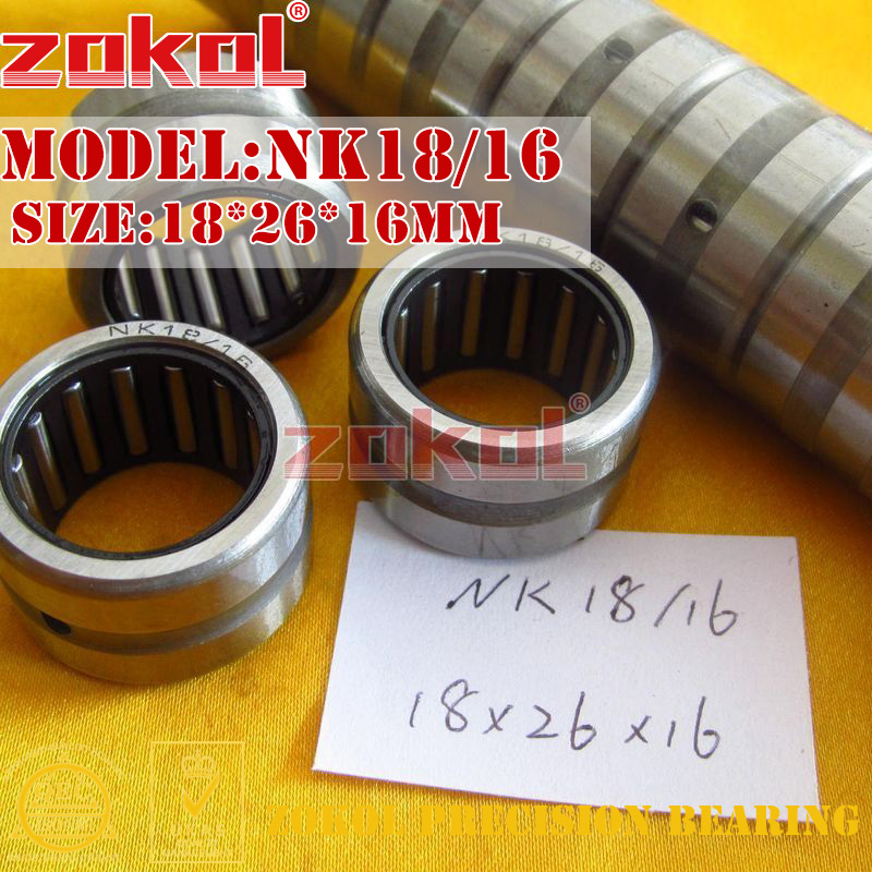 ZOKOL bearing NK18/16 needle roller bearings with-out inner ring    18*26*16mm nk38 20 bearing 38 48 20 mm 1 pc solid collar needle roller bearings without inner ring nk38 20 nk3820 bearing