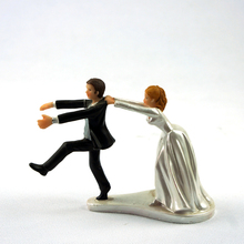 Смешно Смолы Фигурка Свадебный Торт Toppers Невеста Жених брак Декор