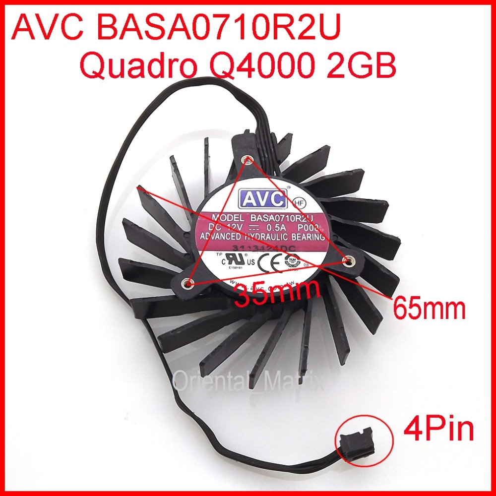 NEW BASA0710R2U DC12V 0.5A 4PIN Cooler Fan Replacement For Quadro Q4000 2GB Cooler Cooling Fan