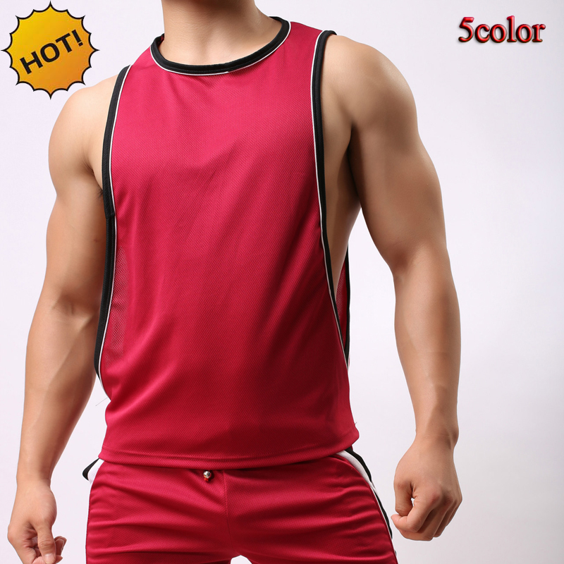 Estilo caliente 2019 Verano Loose Big cuff Nylon Mesh Sweat Tank Tops Hombre Bodybuilding Fitness PracticeTraning Men Chaleco 5Color