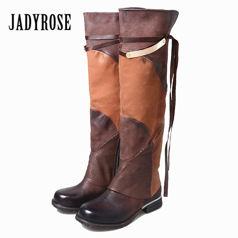 Jady Rose 2018 New Fashion Patchwork Women Thigh High Boots Sexy Over the Knee Boots Female Autumn Winter Flat Long Botas Mujer 2018 new fashion winter thigh high boots green patchwork suede flats over the knee boots cowboy vintage long shoes narrow band