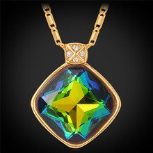 Austrian Rhinestone Crystal Necklace Pendant Gold Plated Mystic Colorful Fancy Stone Jewelry For Women Fashion P344