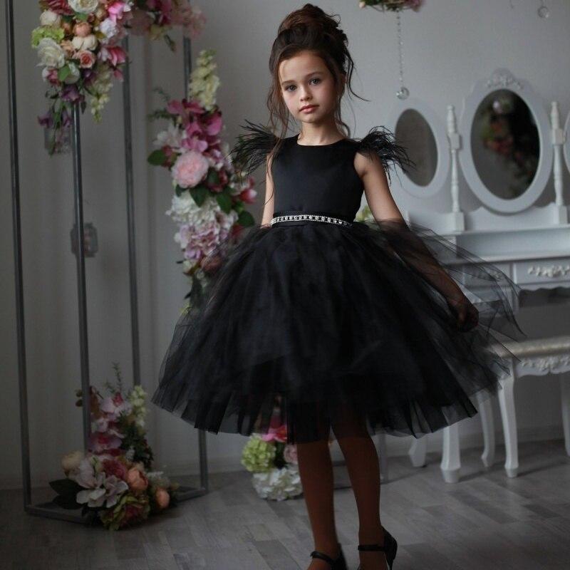 2019 Cute   Flower     Girl     Dresses   Sleeveless Beaded Sash Knee Length Pageant Gowns Kids First Communion   Dress   vestidos de fiesta