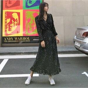 Image 2 - Элегантное шифоновое женское длинное платье с оборками, весеннее сексуальное платье макси со звездным принтом и V образным вырезом, вечернее празднивечерние женское платье, платья