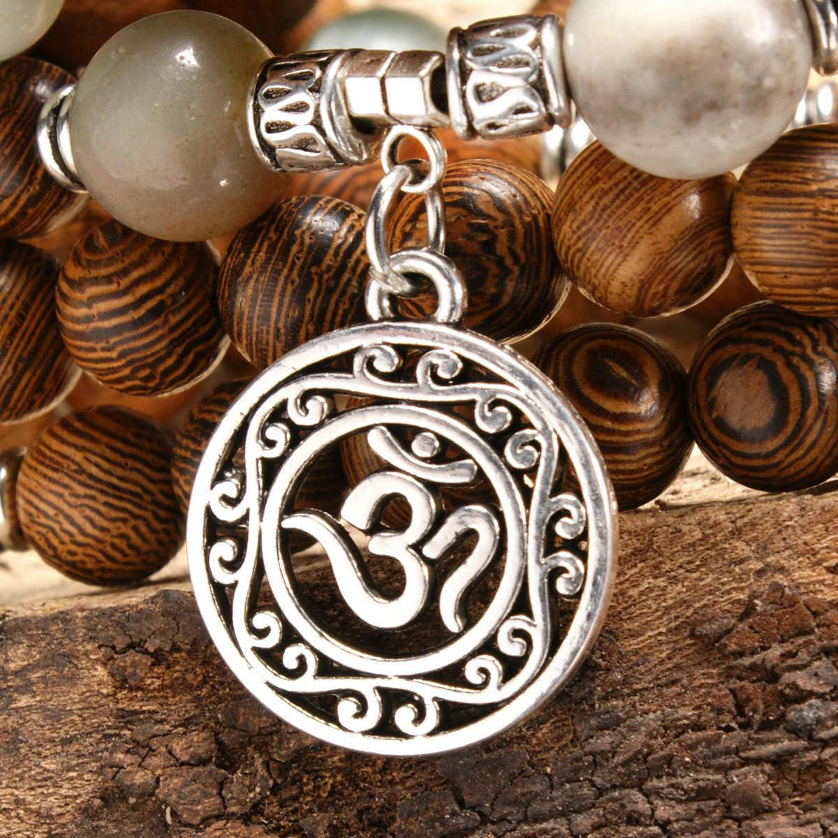 108 Beaded  Natural  Style Sandalwood Buddhist Buddha Wood Prayer Bead Mala Retro Men bracelets for women bangles jewelry