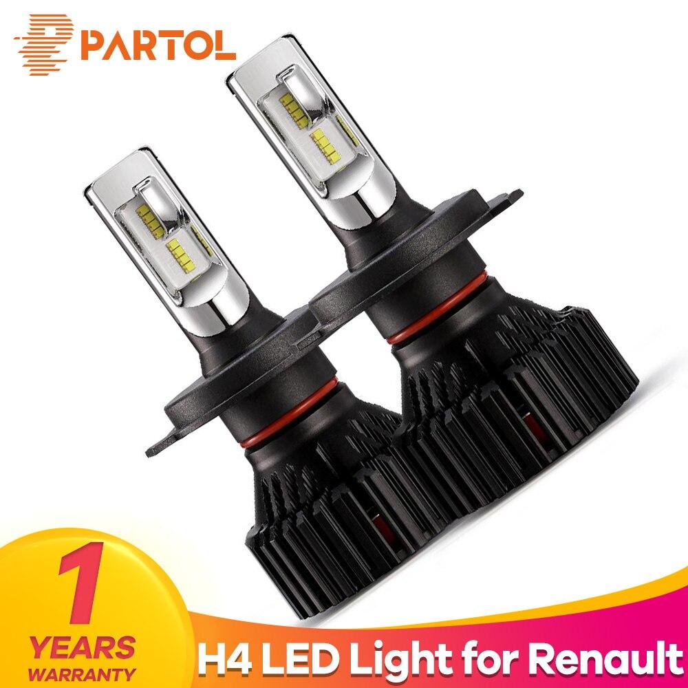 Partol T8 H4 Car LED Headlight Bulbs 60W 8000LM ZES Chips LED H4 Hi Lo Beam Automobile Headlamp 6500K 12V 24V for Renault Twingo