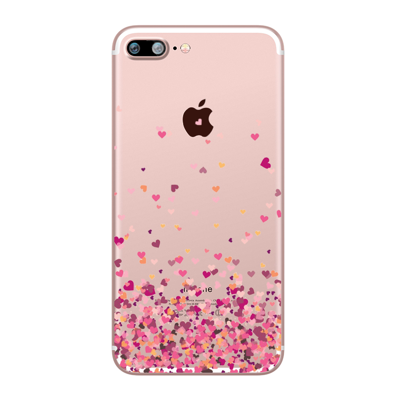 Flower Love Cherry Blossoms Rose Flowers for iphone 7 6 X 6S 8 PLUS SE 5S 7plus Silicon Clear TPU Transparent Capinha Case Funda (9)