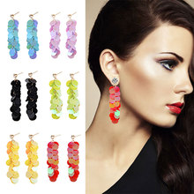 Multi-color splicing acrylic sequins popular long section Drop Earrings Fashion personality female party accessories earrings