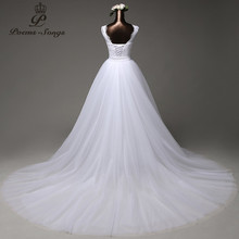 Poemssongs custom made high quality mermaid  wedding dress with tulle detachable train vestido de noivas