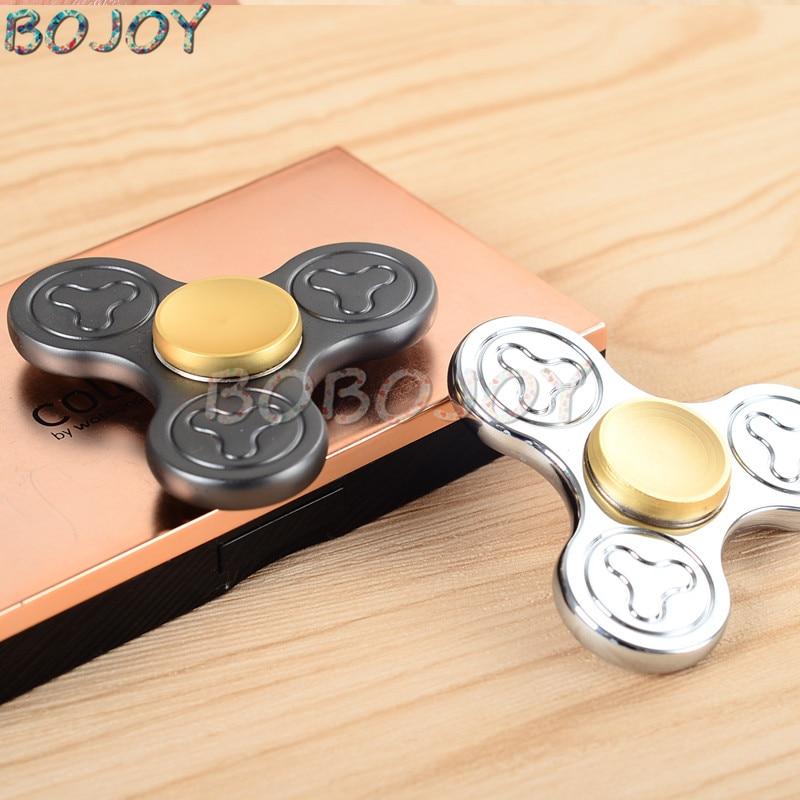 EDC finger Tri Spinner Fidget Toys Pattern Hand Spinner Brass Fidget Spinner and ADHD Adults Children