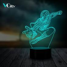 VCity 3D Night Light Table Lamp Multicolor Moda Spiderman miúdo Brinquedos Presentes Do Partido Atmosfera Iluminação Decorativa Para Casa USB LEVOU(China)