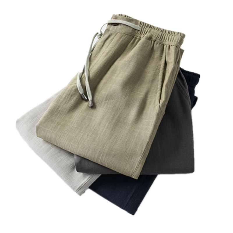 5XL Linen Pants Trousers Mens Pants Men 2019 Summer Breathable High Quality Flax Waist Loose Male Boys Hemp Cotton Casual Pants