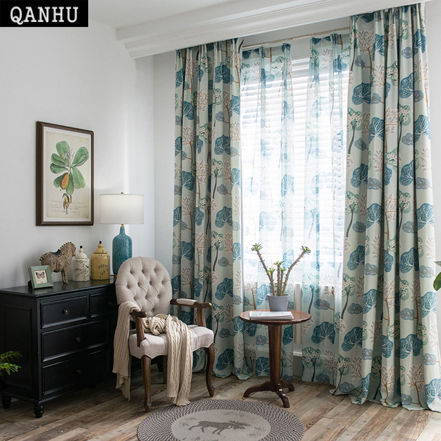 Qanhu 2018 Comfortable Curtain Tree God Blue Yellow Brown Curtains