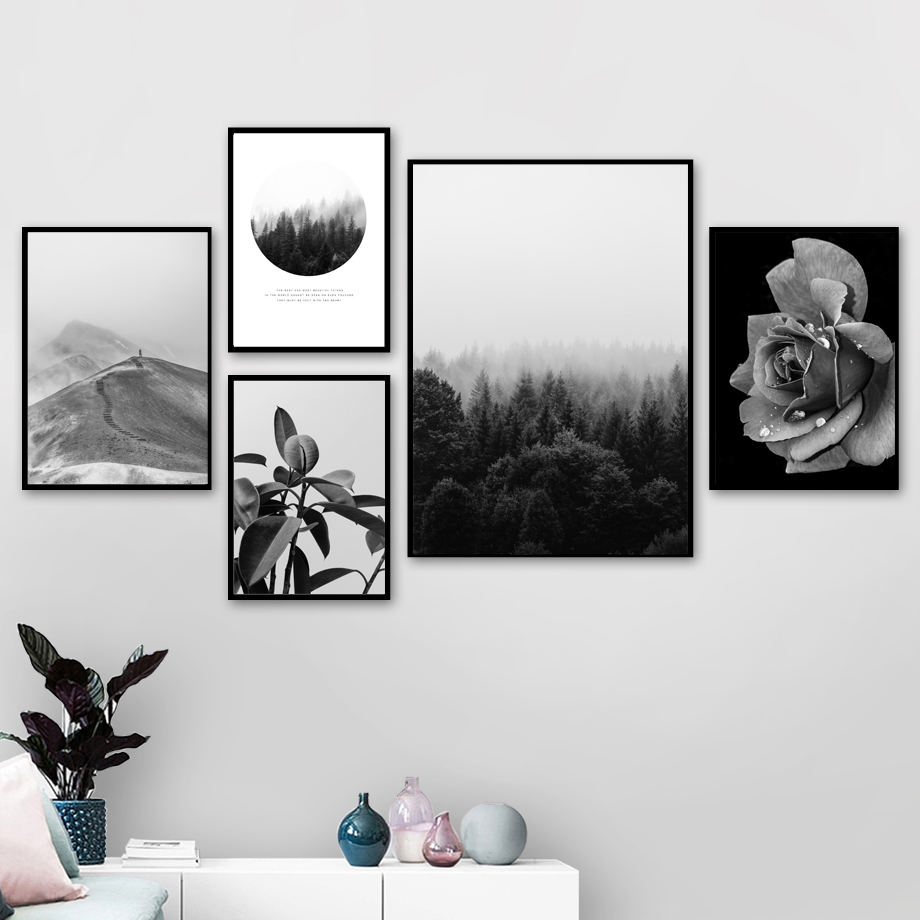 Fog Forest Mountain Big Leaf Rose Wall Art Canvas Painting Flower Nordic Posters And Prints Wall pictures For Living Room Decor in Painting Calligraphy from Home Garden