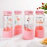 450 ml זכוכית עמיד בחום הדפסה ורוד פלמינגו למנוע נפילה סיליקון הקוריאני משלוח חינם בקבוקי מים שקוף