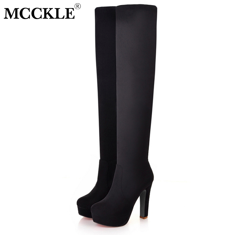 MCCKLE Women Plus Size Platform Over the Knee Boots Fashion Female Suede Sexy High Heels Shoes 2018 Ladies Footwear Black mcckle 2017 ladies fashion sexy autumn winter ankle boots female slip on zip black solid platform high heels plus size34 43