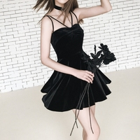 Summer Dresses Women Velvet Elegant Vintage Off Shoulder Sexy Gothic Dress A Line Black Dress Vestidos