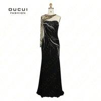 Jersey Fabric Handmade Beads One Shoulder High End Long Sleeve Evening Dress OL102308 Free Shipping