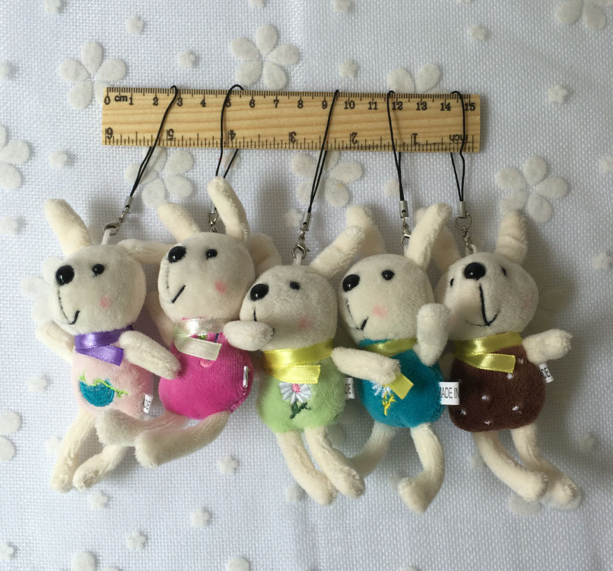 1pc Super Kawaii Mini 12CM Rabbit Stuffed Plush Toy Doll String Pendant Wedding Bouquet G0100
