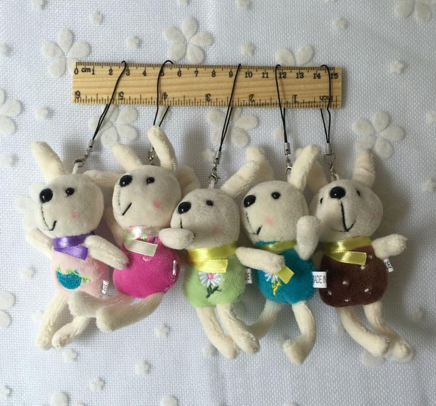 1pc Super Kawaii Mini 12CM Rabbit Stuffed Plush Toy Doll String Pendant Plush Doll Wedding Bouquet Plush Toy Doll G0100