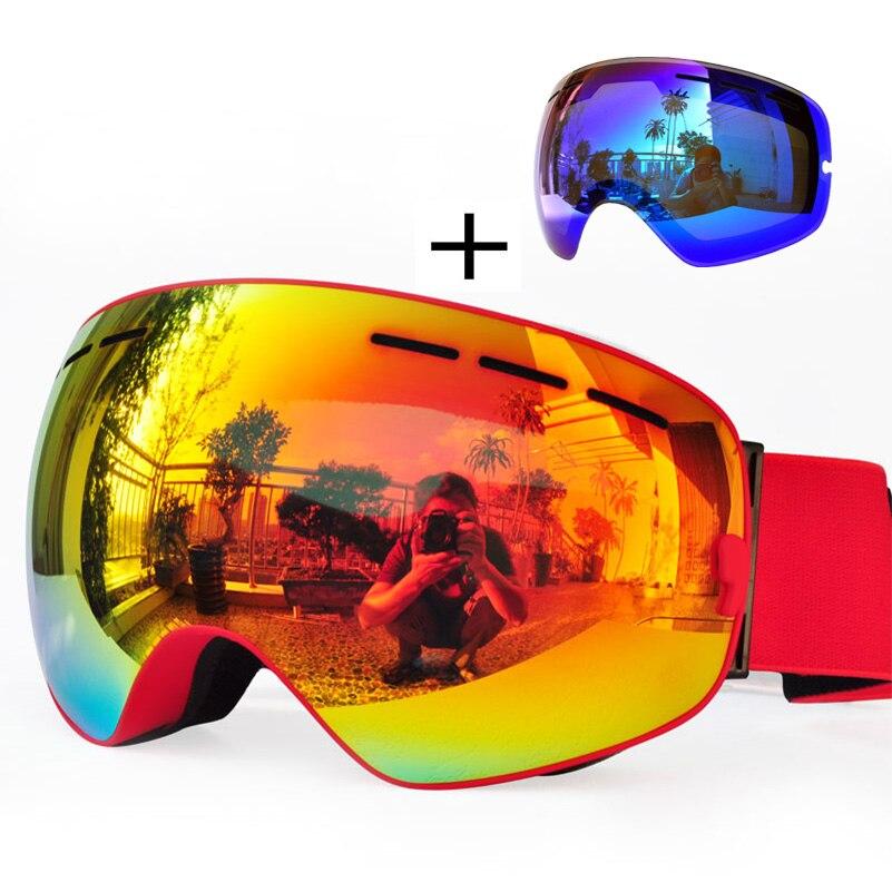 Ski lunettes double couches UV400 Anti-brouillard grande cagoule Lunettes Ski Snowboard Lunettes + lentille supplémentaire pour Casque homme femme