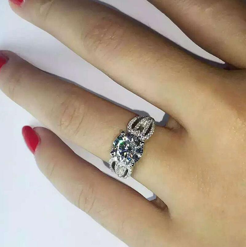 Reinem Silber 3 Karat Vorschlagen Engagement 925 Ring Diamant Paar S925 Ring (LMYS) - 2