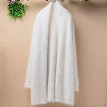 Женский длинный белый пушистый кашемировый теплый кардиган из ангорской шерсти и кролика, осенне-зимняя меховая накидка