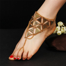 2017 New Antique Gold Silver Triangular Anklet For Women Ankle Bracelet Beach Foot Toe Chain Anklets Barefoot Sandals Jewelry
