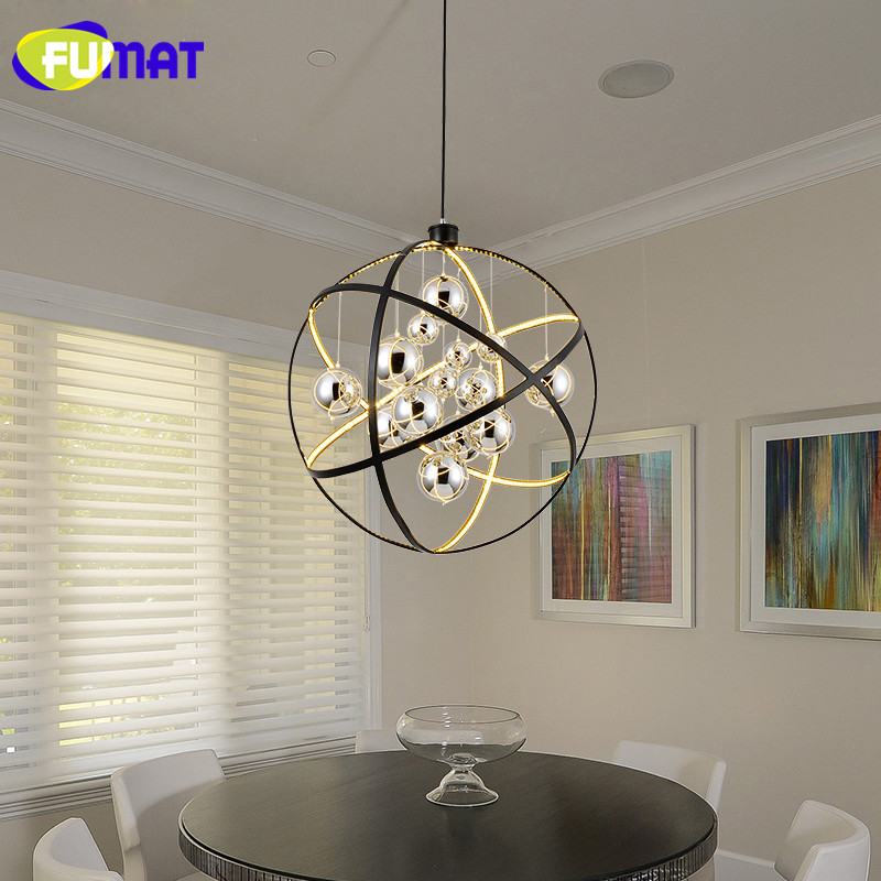 FUMAT Nordic Living Room Lamp Round Chrome Balls Glass Dinning Room Light Modern Pendant Light LED Art Bar Hanging Lamps fumat stained glass lamp european style antique chandelier complex classic living room hotel glass art lamp curtains beads lamp