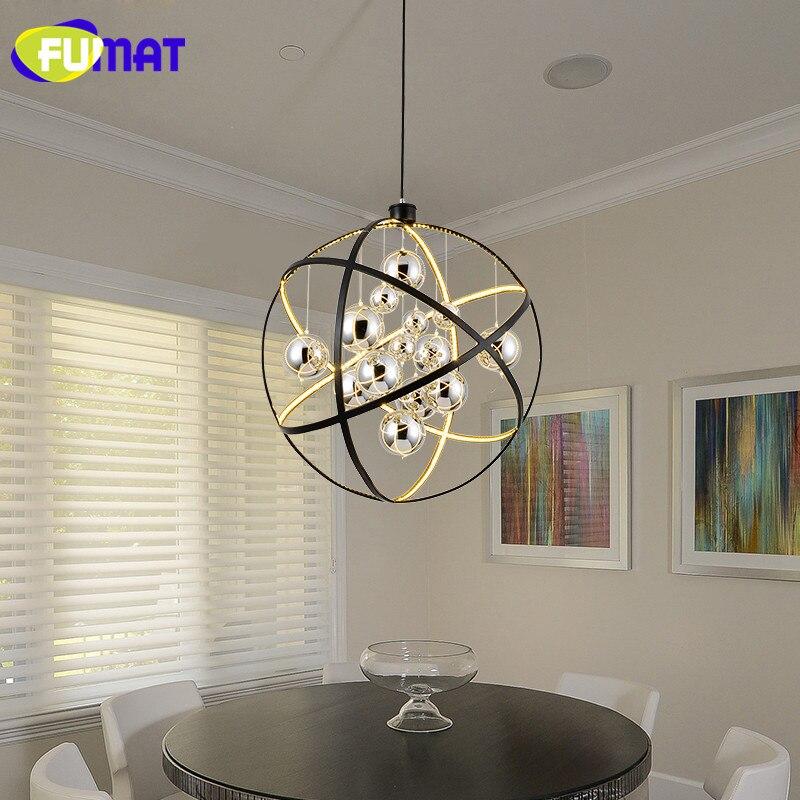 FUMAT Nordic Living Room Lamp Round Chrome Balls Glass Dinning Room Light Modern Pendant Light LED Art Bar Hanging Lamps