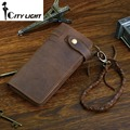 New long style men wallets Crazy Horse Natural Cowhide Vintage Waxed Leather Purse Designer Chain Leather wallet man day clutch