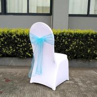 25pcs 17 Colorful Wedding Organza Chair Sash Bow For Chair Cover Banquet Wedding Party Decor Organza