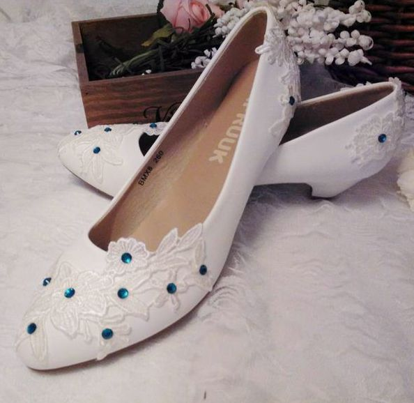 3cm Small Low Heel Wedding Shoes Woman White Lace Green