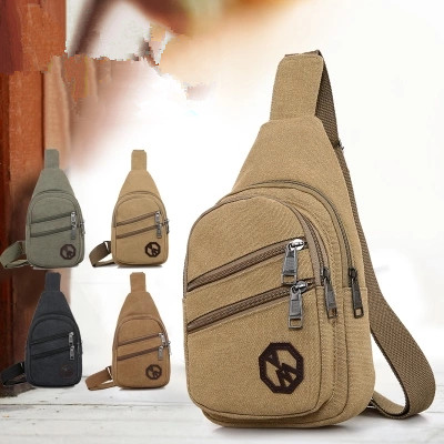 New Fashion Men Shopping Waist Packs!Hot Casual Male leisure riding chest pockets All-match Canvas Small mobile&change Carrier image