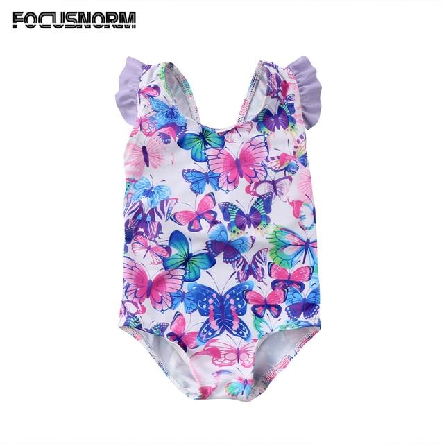 ילדים חדשים תינוק בנות מודפס מעופף שרוולי בגדי ים שחייה תלבושות חתיכה אחת הגעה בגד ים