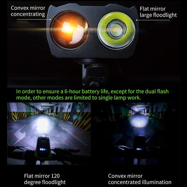 4000mah conjunto de luz dianteira da bicicleta indução inteligente usb recarregável 800 lúmen led luz da bicicleta com chifre lâmpada ciclismo lanterna 2