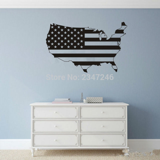 America map wall decal united states stars and stripes flag vinyl sticker for room decoration
