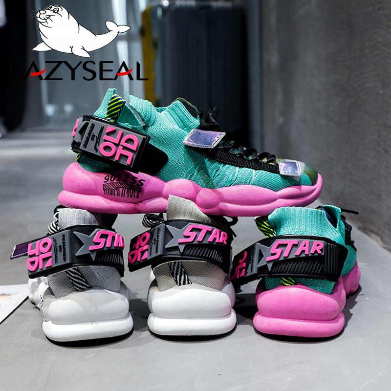 LazySeal Heigh Tăng Dành Cho Nữ Thoáng Khí Cổ Chân Giày Boots Cột Dây Nữ Nền Tảng Bling Giày Lưới Thoáng Khí Giày Đi Bộ