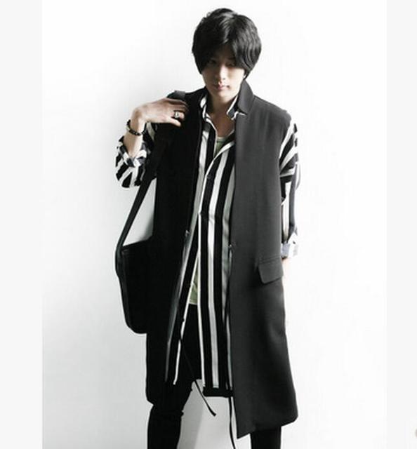 Corea Moda hombres Delgados Chaleco Personalidad Estilista Cantantes Fase Del Chaleco Medio-largo Chaleco Ocasional Trajes de Vestir! M-4XL envío gratis