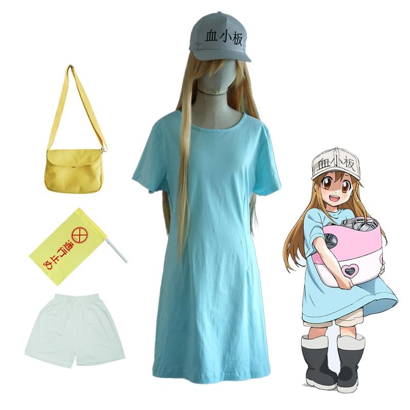 Hataraku Saibou Platelet Kesshoban Cosplay Costume Cells at Work Women Party Blue Dress ( T-shirt + Shorts + Cap + Bag + Flag )