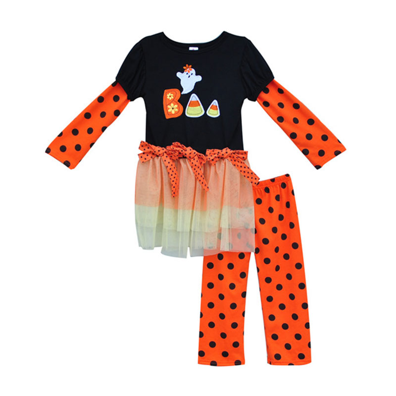 Factory Selling Toddler Girl Clothing BOO embroidery Dress Polka Dots Legging Orange Halloween Kids Outfits Clothes H007