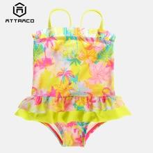 цена на Attraco Girls' Swimwear One Piece Swimsuits Flower Striped Print Ruffle Kids Cute Bikini Adjustable Strap Beach Wear